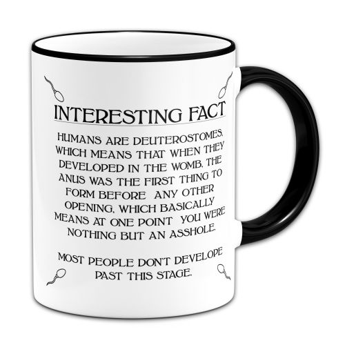 15oz Interest Fact Humans Are Deuterostomes Novelty Gift Mug - Black Inner & Handle